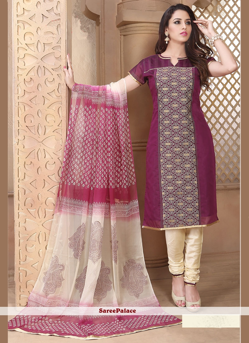 Surpassing Chanderi Churidar Designer Suit