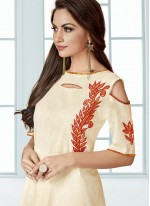 Surpassing Cream Embroidered Work Party Wear Kurti