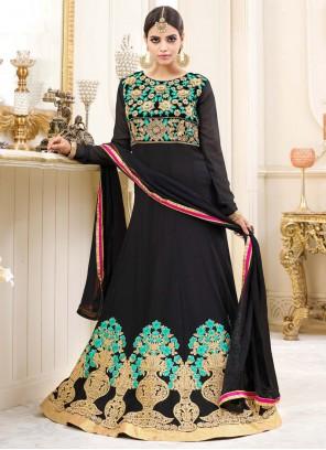 Surpassing Embroidered Work Floor Length Anarkali Suit