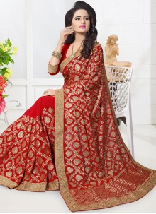 Surpassing Embroidered Work Red Classic Designer Saree