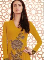 Surpassing Embroidered Work Yellow Anarkali Salwar Kameez