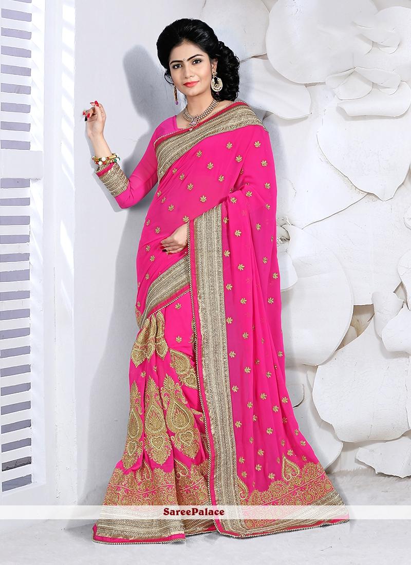 Surpassing Hot Pink Faux Georgette Classic Designer Saree