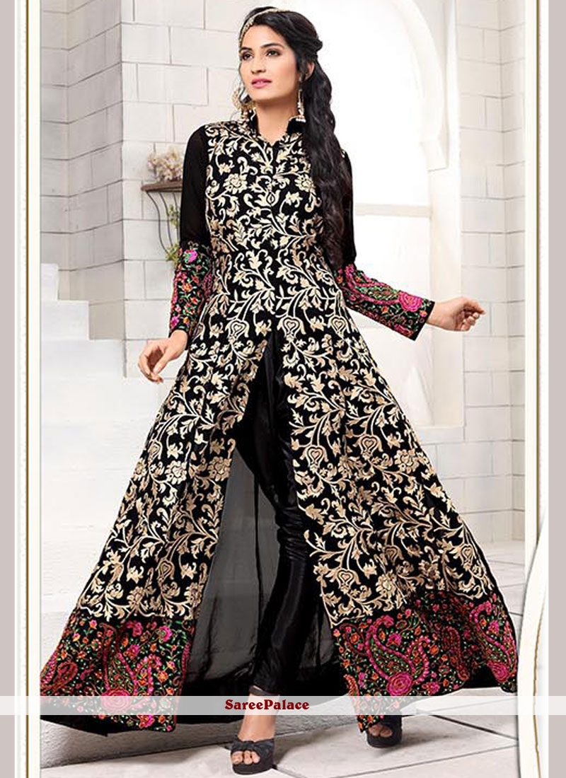 Surpassing Resham Work Black Faux Georgette Anarkali Salwar Suit