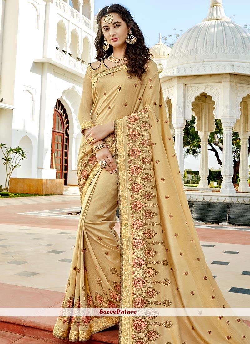 Swanky Beige Stone Work Work Bollywood Saree