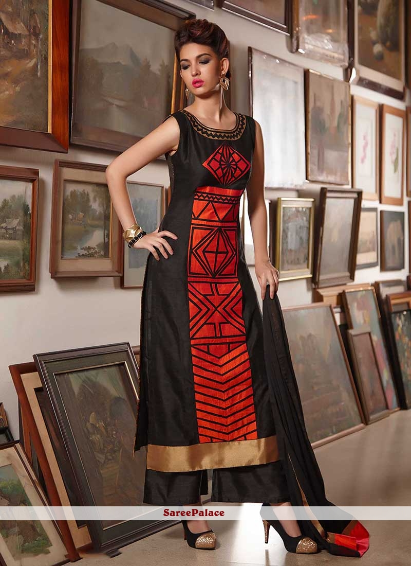 Swanky Black and Red Print Work Tafeta silk Party Wear Kurti