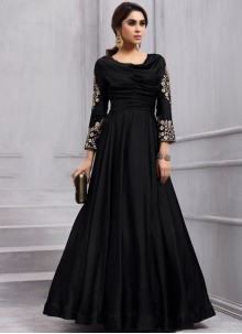 Swanky Embroidered Work Black Tafeta silk Anarkali Salwar Kameez