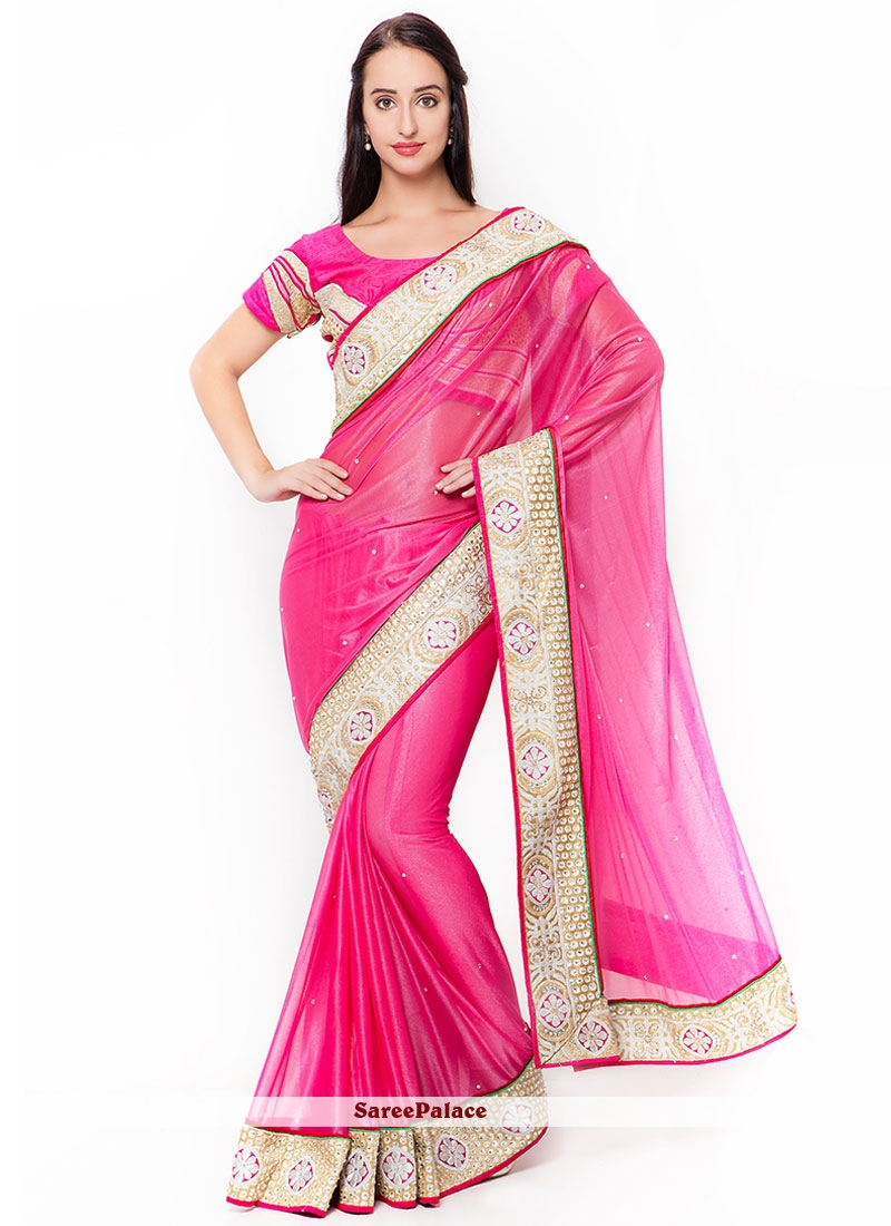 Fuchsia Pink Lycra Embroidered Saree