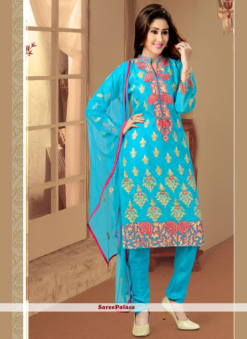 Swanky Print Work Cotton   Turquoise Readymade Suit