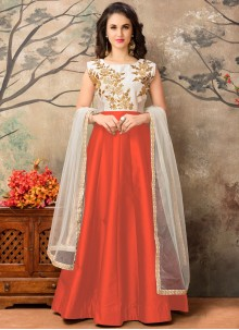 Swanky Tafeta silk Orange Embroidered Work Floor Length Anarkali Suit