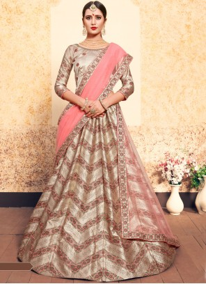 Swarovski Brown Satin Designer Lehenga Choli