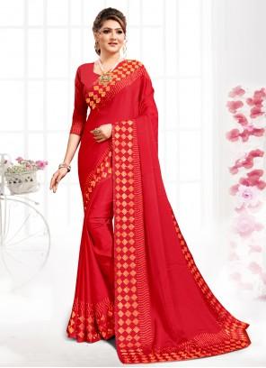 Swarovski Red Bollywood Saree