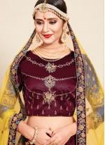 Swarovski Satin Designer Lehenga Choli in Maroon