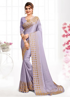 Swarovski Satin Designer Saree in Purple