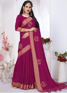 Swarovski Satin Silk Pink Classic Saree