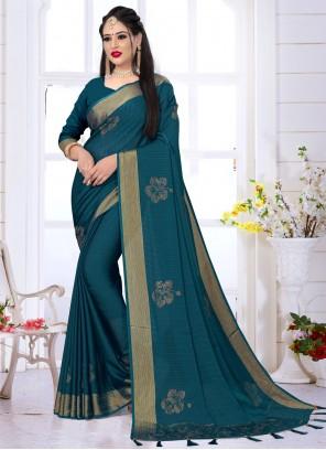 Swarovski Satin Silk Designer Saree in Teal