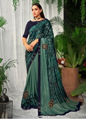 Swarovski Silk Bollywood Saree in Teal