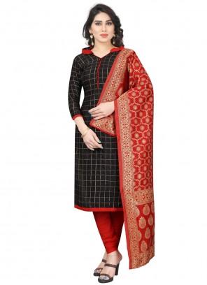 Tafeta Silk Black Fancy Churidar Salwar Suit