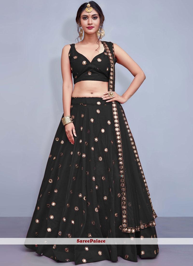Tafeta Silk Black Sequins Readymade Lehenga Choli