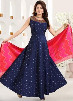 Tafeta Silk Blue Embroidered Anarkali Salwar Suit