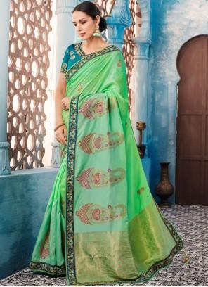 Tafeta silk Border Green Classic Saree