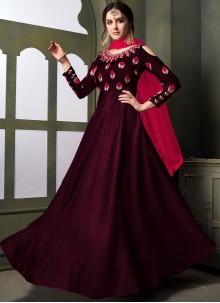 Tafeta Silk Embroidered Anarkali Suit in Maroon