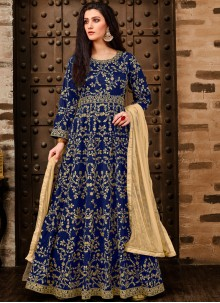 Tafeta Silk Embroidered Blue Anarkali Suit