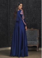 Tafeta Silk Embroidered Blue Readymade Gown