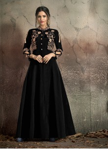Tafeta Silk Embroidered Designer Gown