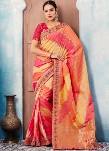 Tafeta silk Embroidered Designer Saree in Multi Colour