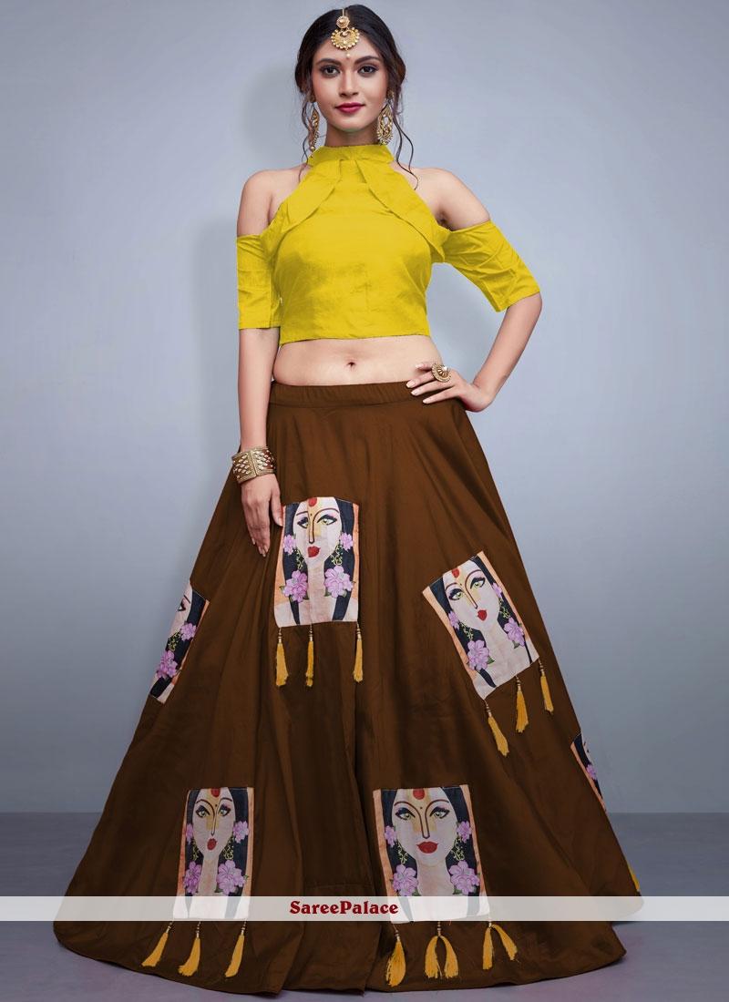 Brown Tafeta Silk Embroidered Readymade Lehenga Choli