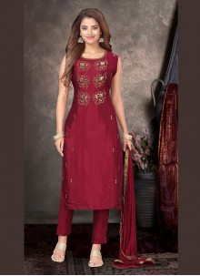 Tafeta Silk Embroidered Trendy Salwar Kameez