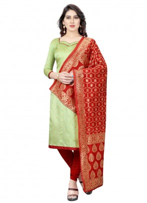 Tafeta Silk Fancy Green Churidar Salwar Suit