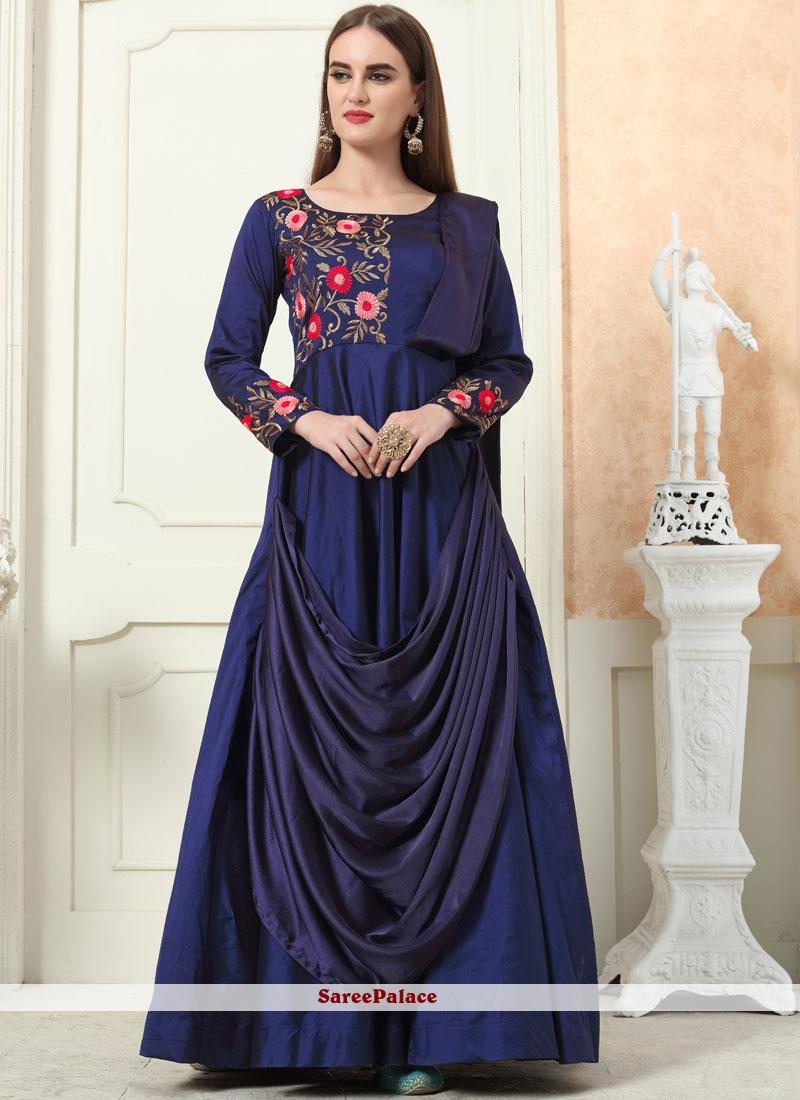 Navy Blue Tafeta Silk Festival Trendy Gown
