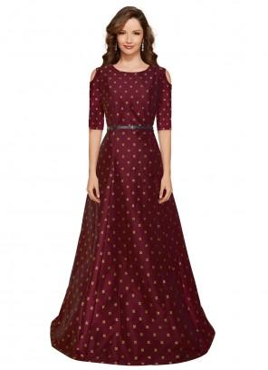 Maroon Tafeta Silk Floor Length Gown