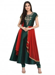 Tafeta Silk Green Embroidered Readymade Anarkali Suit