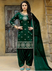 Tafeta silk Green Mirror Work Punjabi Suit