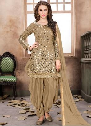 Tafeta Silk Mirror Brown Designer Patiala Salwar Kameez