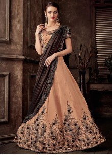 Tafeta Silk Peach Embroidered Lehenga Style Saree