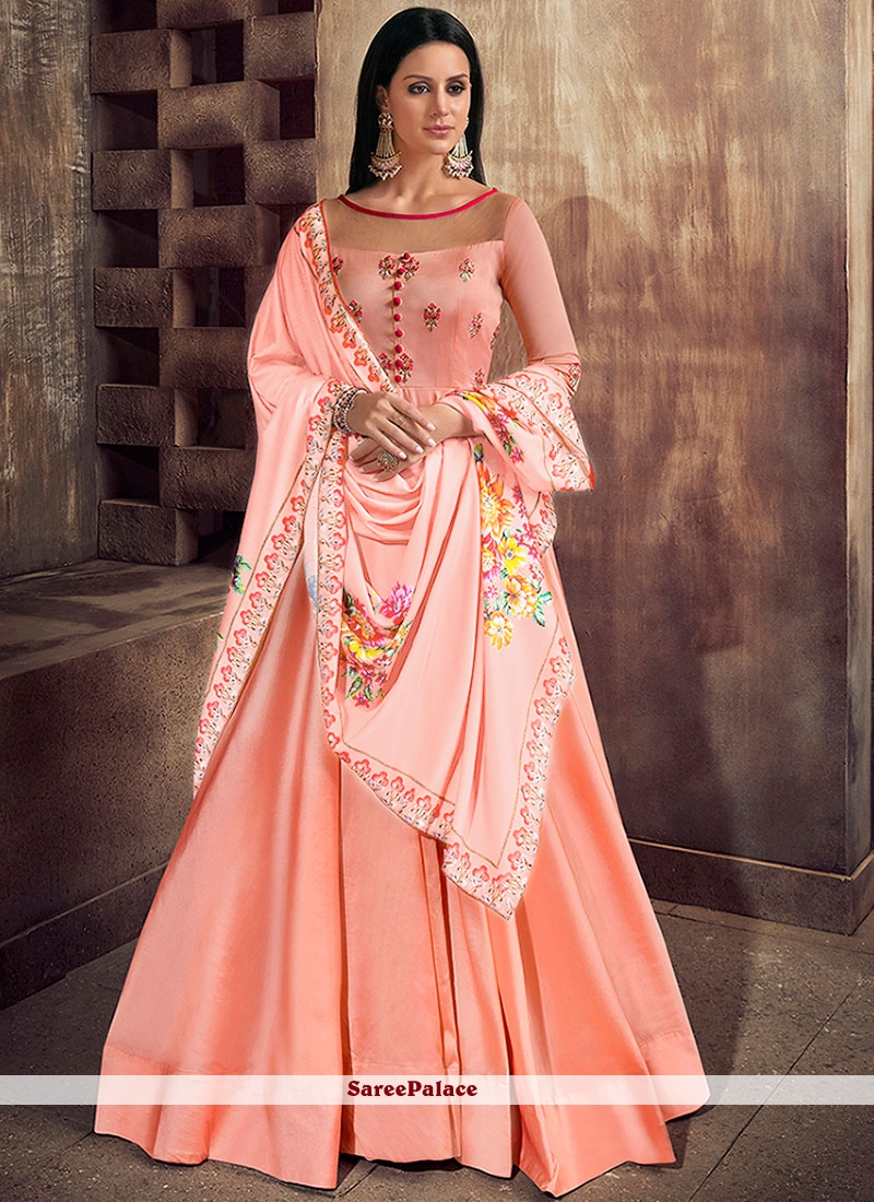 Tafeta Silk Pink Readymade Anarkali Suit