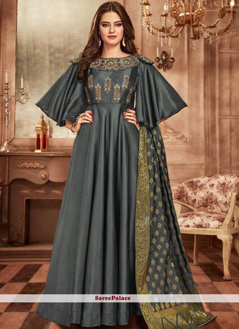 Grey Tafeta Silk Readymade Anarkali Suit
