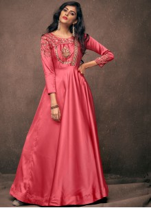 Pink Tafeta Silk Readymade Gown