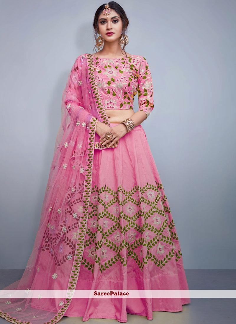 Pink Tafeta Silk Readymade Lehenga Choli