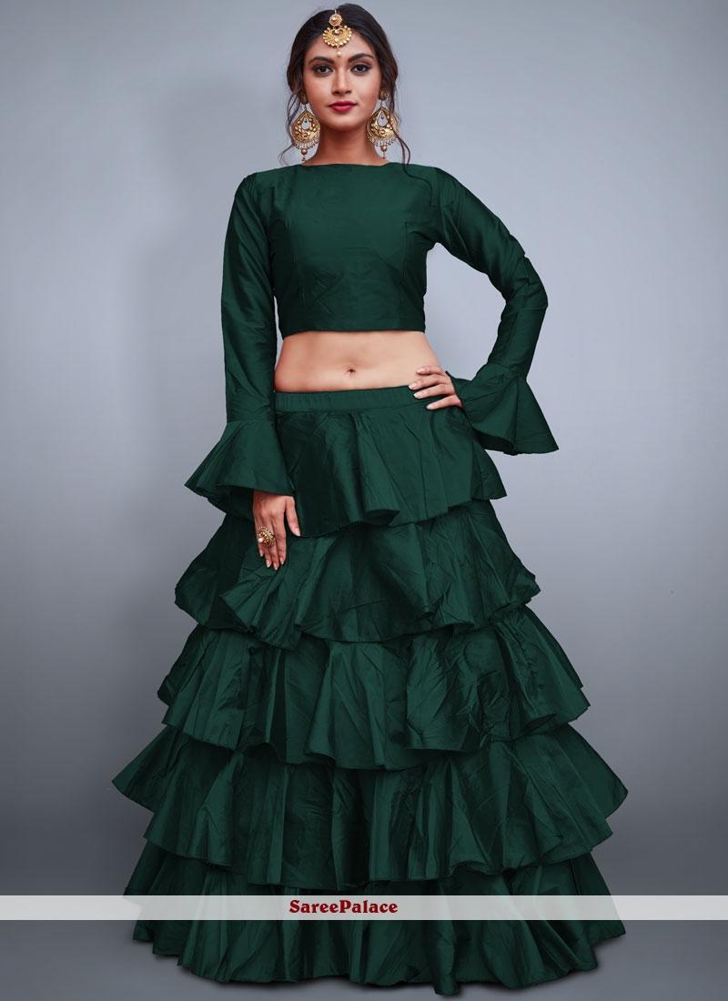 Tafeta Silk Readymade Lehenga Choli in Green