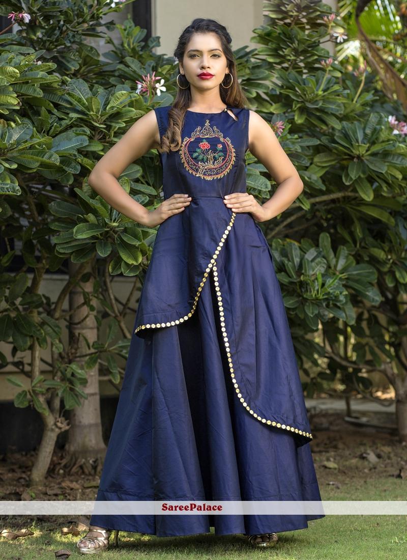 Tafeta silk Resham Blue Readymade Gown