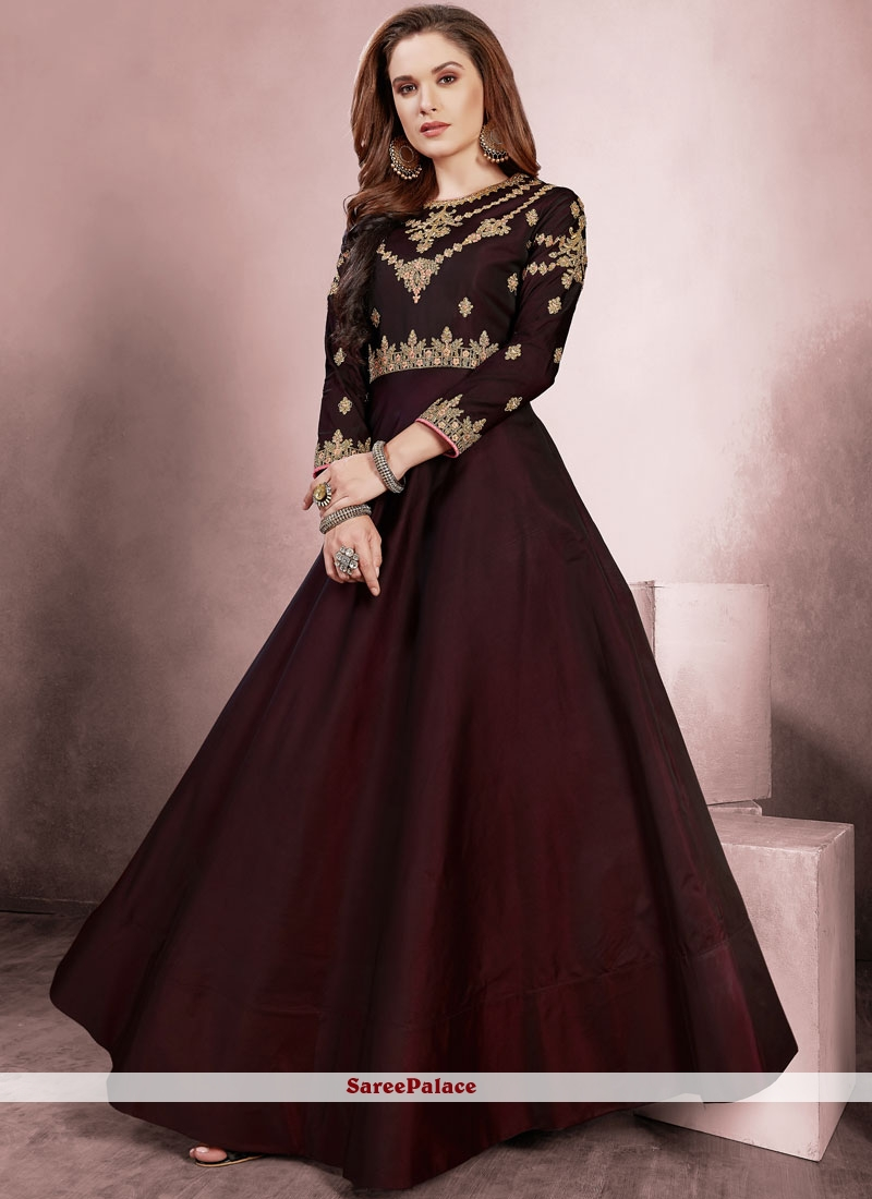 Tafeta Silk Resham Readymade Gown  in Wine