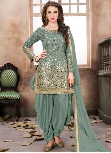 Tafeta Silk Sea Green Designer Patiala Suit