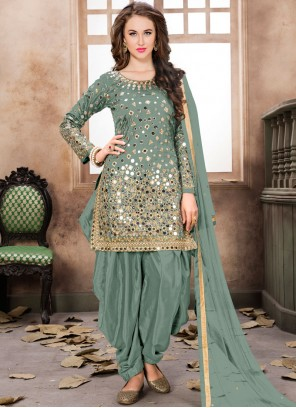 Tafeta Silk Sea Green Designer Patiala Suit
