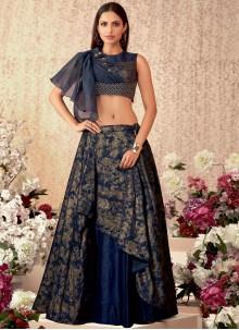 Tafeta Silk Sequins A Line Lehenga Choli in Navy Blue