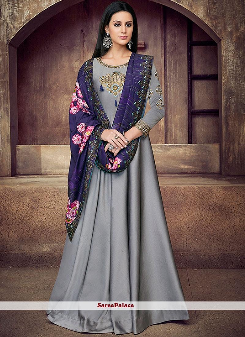 Tafeta Silk Zari Grey Readymade Anarkali Suit