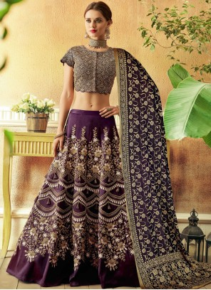 Tafeta Silk Zari Purple Lehenga Choli